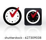 round and square clocks with... | Shutterstock .eps vector #627309038