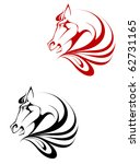 Stock vector horse black and red tattoo symbol for design isolated on white also as emblem or logo template 62731165