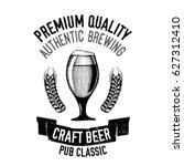hand drawn beer emblem with... | Shutterstock .eps vector #627312410