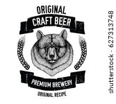 hand drawn beer emblem with... | Shutterstock .eps vector #627313748