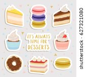 set of cute stickers sheet with ... | Shutterstock .eps vector #627321080