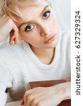 close up portrait of blonde... | Shutterstock . vector #627329324