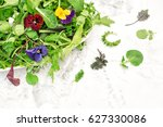 fresh green salad with herbs... | Shutterstock . vector #627330086