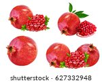 pomegranate isolated on white... | Shutterstock . vector #627332948