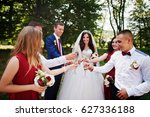 wedding couple with bridesmaids ... | Shutterstock . vector #627336188