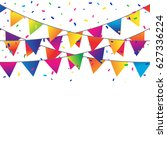 colorful confetti and flags on... | Shutterstock .eps vector #627336224