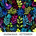 watercolor texture with flowers ... | Shutterstock . vector #627336824