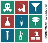 chemical icons set. set of 9... | Shutterstock .eps vector #627337940