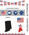 map of indiana. set of flat... | Shutterstock .eps vector #627349568