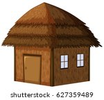 wooden hut on white background | Shutterstock .eps vector #627359489