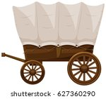 wagon with wooden wheels | Shutterstock .eps vector #627360290