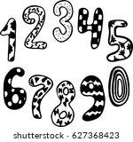 hand written numbers 0 9 on a... | Shutterstock .eps vector #627368423