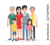 asian family portrait with... | Shutterstock .eps vector #627369404