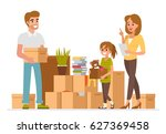 family packing their stuff and... | Shutterstock .eps vector #627369458