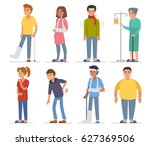 sick people characters set. men ... | Shutterstock .eps vector #627369506