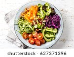 vegan buddha bowl. bowl with... | Shutterstock . vector #627371396