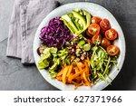 vegan buddha bowl. bowl with... | Shutterstock . vector #627371966