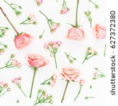 floral pattern made of pink... | Shutterstock . vector #627372380