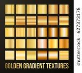 vector set of gold gradients.... | Shutterstock .eps vector #627373178