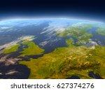 western europe from earth's... | Shutterstock . vector #627374276