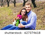 casual happy young couple.... | Shutterstock . vector #627374618