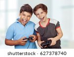 best friends playing at home ... | Shutterstock . vector #627378740