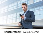 businessman using mobile phone... | Shutterstock . vector #627378890