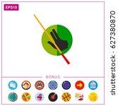 billiard glove and cue icon | Shutterstock .eps vector #627380870