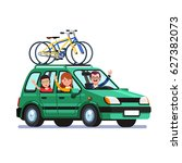 happy family traveling by car...   Shutterstock .eps vector #627382073