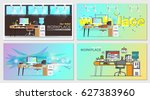 set of office workplace... | Shutterstock .eps vector #627383960