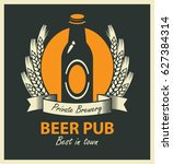 vector emblem for beer pub with ...   Shutterstock .eps vector #627384314