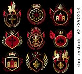 set of vintage emblems created... | Shutterstock . vector #627390254
