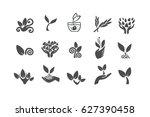 set of black leaves design... | Shutterstock .eps vector #627390458