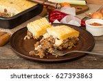 shepherd's pie traditional... | Shutterstock . vector #627393863
