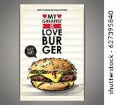 tasty burger poster. sketch  ... | Shutterstock .eps vector #627395840