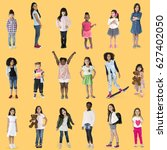 diverse of young girls children ... | Shutterstock . vector #627402050