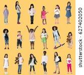 diverse of young girls children ... | Shutterstock . vector #627402050