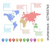 dotted world map with pointer... | Shutterstock .eps vector #627403763