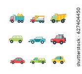 car and truck icon set  flat ... | Shutterstock .eps vector #627404450