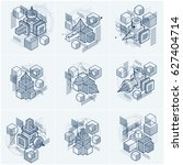 3d abstract isometric... | Shutterstock . vector #627404714