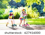 children learn to ride scooter... | Shutterstock . vector #627416000