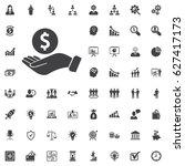 pictograph of money in hand.... | Shutterstock .eps vector #627417173