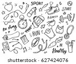 set of hand drawn sport doodle... | Shutterstock .eps vector #627424076
