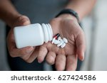 female hands with prescription... | Shutterstock . vector #627424586