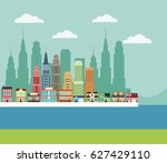 town building houses river... | Shutterstock .eps vector #627429110