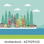 town building houses river...   Shutterstock .eps vector #627429110