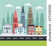 cityscape building bank houses...   Shutterstock .eps vector #627429203