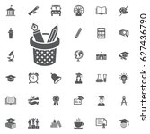 pencils and pens in a cup icon... | Shutterstock .eps vector #627436790