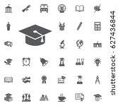 graduation cap icon on the... | Shutterstock .eps vector #627436844
