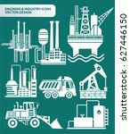 industry icon set clean vector | Shutterstock .eps vector #627446150